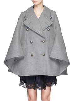 CHLOÉ - Oversize lapel felted wool cape coat - on SALE | Grey Cape Knitwear | Womenswear | Lane Crawford - Shop Designer Brands Online