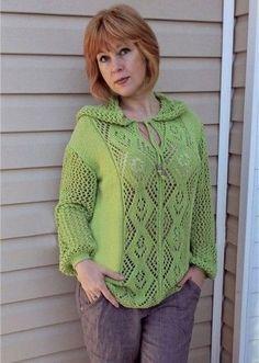Летний пуловер с капюшоном - запись пользователя МамаМарина (Марина Юрьевна) в сообществе Вязание спицами в категории Вязание для женщин спицами. Схемы вязания спицами