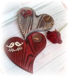 Heart shape Yin Yang Wooden candle holder Red Perl Silver Burgundy Bordeaux Rustic Country decor wedding bird love Yin Yang tealight holder - Set 2 Red Perl Wooden candle holders Valentine's day décor Rustic home decor Natural wedding Woo - Rustic Candle Holders, Christmas Candle Holders, Rustic Candles, Diy Candles, Candle Set, Wedding Birds, Decor Wedding, Wedding Decorations, Heart Decorations