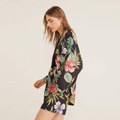 MANGO | Veepee Kimono Jacket, Print Jacket, Kimono Top, Batwing Sleeve, Long Sleeve, Style Rock, Mango, Cotton Fabric, Floral Prints
