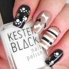Pretty nail colors and designs new nails ideas cute nail designs games cute nail designs black pink Dog Nail Art, Animal Nail Art, Dog Nails, Trendy Nails, Cute Nails, Nail Art Designs, Animal Nail Designs, Paw Print Nails, Pretty Nail Colors
