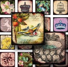 New  Royal Flora and Fauna 7/8 inch squares  Two Digital by piddix, $3.78