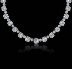 Asscher cut diamond, pavé diamond and platinum necklace from Garrard