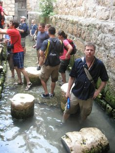 Hezekiah's Tunnel Discovery | Galyn in the water at the end of Hezekiah's tunnel. This channel of ...