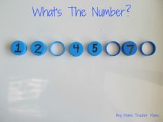 British Columbia Kindergarten Math Bottle Top Math: Simple center activity for missing numbers. Adapt for missing addends. Math Classroom, Kindergarten Math, Teaching Math, Teach Preschool, Math Numbers, Learning Numbers, Math Stations, Math Centers, Math Games
