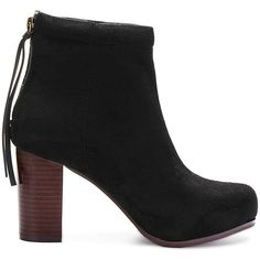 Yoins Suede High Ankle Boots in Black ($58) ❤ liked on Polyvore featuring shoes, boots, ankle booties, heels, yoins, black, chunky heel bootie, suede booties, black suede booties and black ankle boots