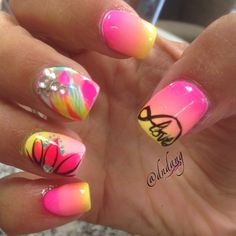 Neon Pink + Yellow Gradient Nails With Rhinestones,  Coral Flower, and Teal Accents #love
