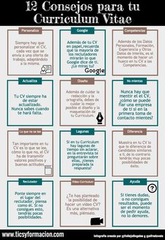 12 consejos para tu Curriculum Vitae If you like this cv template. Check others on my CV template board :) Thanks for sharing! Cv Tips, Resume Tips, Great Resumes, Resume Examples, Work On Writing, Writing Tips, Resume Profile, Cv Online, Best Resume Format