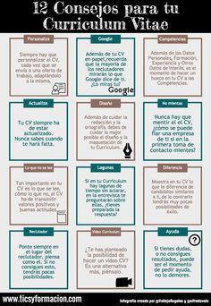 Hola: Una infografía con 12 consejos para tu Curriculum Vitae. Infografía realizada con Piktochart Un saludo