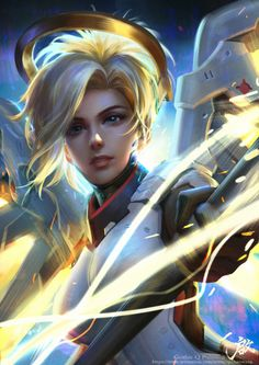 """Cyberclays: """" mercy - overwatch fan art by qichao wang more from the same collection Overwatch Mercy, Overwatch Comic, Overwatch Fan Art, Overwatch Drawings, Overwatch Angel, Overwatch Genji, Cyberpunk, Game Art, Fan Art"""