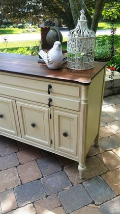 Painted Black Walnut Buffet Sideboard, Painted Furniture, Annie Sloan, Antique Walnut Gel Stain, Distressed, Ideas, DIY, Inspiration #paintedfurniture #paintedbuffet #paintedsideboard #anniesloan #distressedfurniture #furnitureideas #furnitureDIY #shabbychic