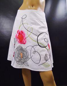 Talbots Petites Size 4 White Embroidered Floral Cotton Skirt  #Talbots #ALine