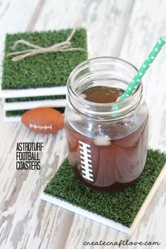 These Astroturf Football Coasters are a fun addition to any Super Bowl party!