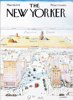 The New Yorker, March 29, 1976: Steinberg Map. Classic