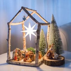 My son wanted a nativity scene this year. When I was little . - My son wanted a nativity scene this year. When I was little, we used to have something like that at - Rustic Christmas, Winter Christmas, All Things Christmas, Christmas Holidays, Christmas Decorations, Christmas Ornaments, Christmas Nativity Scene, Nativity Crafts, Nativity Ornaments