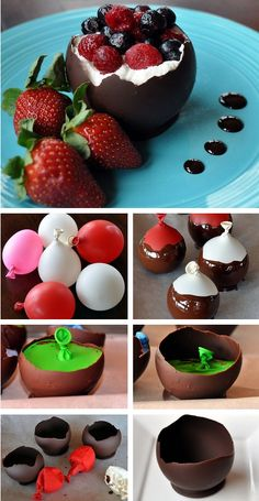 Chocolate Bowls Tutorial! #chocolate #diy http://thecakebar.tumblr.com/post/25032233219/chocolate-bowls-tutorial