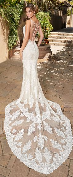 Glamorous Tulle Jewel Neckline Mermaid Wedding Dress With Lace Appliques & Beadings