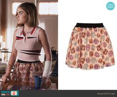 Aria's floral sequin skirt on Pretty Little Liars.  Outfit Details: https://wornontv.net/56436/ #PLL