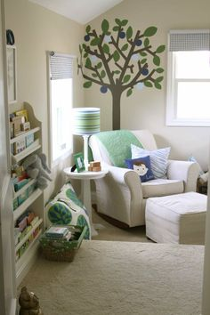 baby boy room - reading nook - shelf, table and chair Nursery Nook, Nursery Ideas, Nursery Reading, Nursery Shelves, Just Kids, Room Tour, Nursery Design, Baby Boy Nurseries, Reading Nook