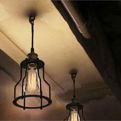 2014 Lighting vintage style indoor copper lampholder black iron cage pendant lamp light E27 for Parlor Loft/Coffee Shop(China (Mainland))