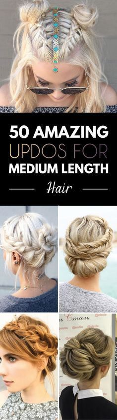 Great selection of updos for medium length hair - Deconstructed fishtail updo. (Show Beauty) Laced braid . Updos For Medium Length Hair, Medium Hair Styles, Curly Hair Styles, Hair Medium, Easy Upstyles For Medium Hair, Pretty Hairstyles, Braided Hairstyles, Female Hairstyles, Hairstyles Haircuts