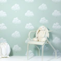 Bartsch Wallpaper   Cotton Clouds in Water Lily by Bartsch Wallpaper   JUST KIDS WALLPAPER™