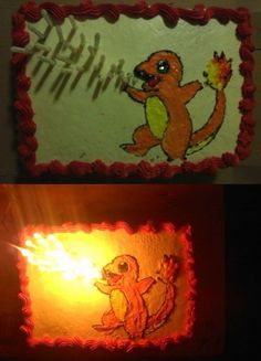 Pokemon cake. Position candles so it is the fire coming out of the mouth. Would be a great idea for a Targaryen dragon cake for a GOT party.