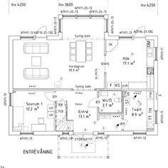 Såhär kommer entrévåningen att se ut. Några av de ändringar vi gjort är att ändra placeringen på rummen, större tvättstuga, ta bort (!) groventren, välja till skjutdörrar till köket samt mitt efterlängtade skafferi! #myresjöhus #byggahus #bygganytt #planritning #planlösning #smart168 #skafferi #levelone #husinspiration #nybygge #husbygge