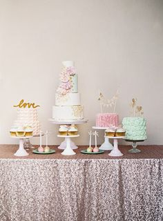Whimsical pastel cake and dessert table | www.onefabday.com