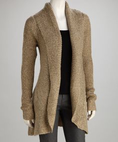 Take a look at this Gold Beige Knit Long-Sleeve Open Cardigan by Michael K Knits on @zulily today!