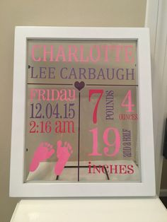 This beautiful frame is the perfect way to display your new babys birth information. Include a nickname, City, State of birth, etc. Great idea