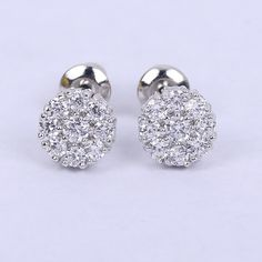 Classic Perfect Circular Petal White Crystal White gold Plated Made of CZ Stone Studs Earrings for women gift 1 pair