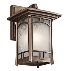 Kichler Lighting 49450AGZ Soria 1-Light Exterior Wall Mount, Medium, Aged Bronze Finish with Vetro Mica Glass by Kichler Lighting. $130.00. The Kichler Lighting 49450AGZ Soria 1LT Exterior Wall Lantern employs clean, craftsman lines and an updated style combined with a warm Aged Bronze finish and Vitro Mica glass into an exquisite Mission design that will enhance your exterior decor with chic charm and classic style that will appreciated for many years to come.  The bod...