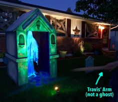 """So it may have been years in the making, but we finally did it… We finished our mausoleum for our yard! We planned on this being a multi-part project and thought we'd just """"slap i… Halloween Graveyard, Halloween News, Halloween Haunted Houses, Halloween Crafts, Halloween Prop, Haunted Mansion, Halloween 2020, Happy Halloween, Halloween Decorations For Kids"""
