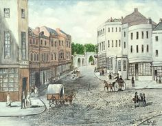 Original Oil Board Painting Picture Bath Street Frome Somerset Scene 1840 Horses