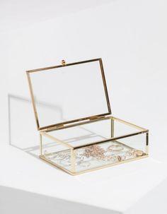 9 99 gold rechteckiger kasten aus klarglas mit. Black Bedroom Furniture Sets. Home Design Ideas
