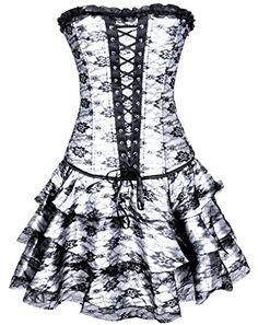 Alivila Y Fashion Women S Sexy Boned Lace Up Gothic Corset White