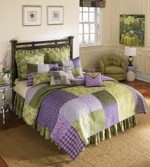purple and green patch print bedding color schemes pinterest