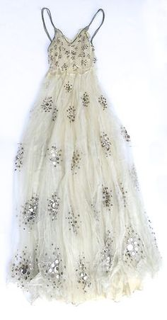 1920's Sequin Silver Thread Trousseau Dress