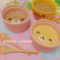 日本人のおやつ♫(^ω^) Japanese Sweets リラックマプリン Rilakkuma Pudding <3