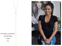 Cassie wearing a stunning Nialaya Bar Necklace 925 Solid Silver 18K Gold Plating  17 inches £142