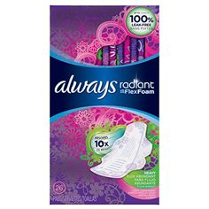 Always Radiant Infinity Feminine Pads with Wings, Regular Absorbency, Scented, 32 Count Feminine Pads, Period Pads, Sanitary Napkin, Nouveau Look, Healthy Nails, Pop Tarts, Washi, Body Care, Counting