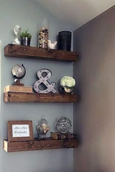 Decorate wall shelves diy floating shelves for my living room in 2018 livin Shelves Above Couch, Shelves Above Toilet, Wall Shelves, Glass Shelves, Ledge Shelf, Grey Shelves, Shelf Brackets, Wall Shelf Decor, Rustic Floating Shelves