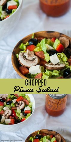 Chopped Pizza Salad - turn your favorite pizza into a deliciously light salad. All the flavors of pizza without the guilt.