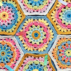 Ravelry: Diego's Flowers Hexagon Motif pattern by Jane Crowfoot