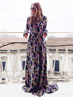 Maja Wyh in a printed Dorothee Schumacher maxi dress