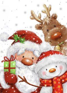 Christmas Scenes, Noel Christmas, Christmas Greetings, Winter Christmas, Vintage Christmas, Christmas Crafts, Christmas Decorations, Reindeer Christmas, Illustration Noel