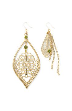 Gold Filligree & Chain Earrings