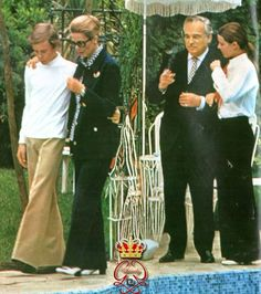 Grace and Rainier of Monaco with their children Albert (13) and Caroline (14), 1971.