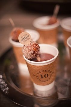 Coffee + donuts are the perfect midnight snack for your dance-machine guests.